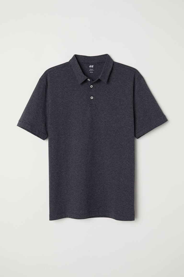 Polo shirt Slim Fit - Dark grey/Striped - Men | H&M IN