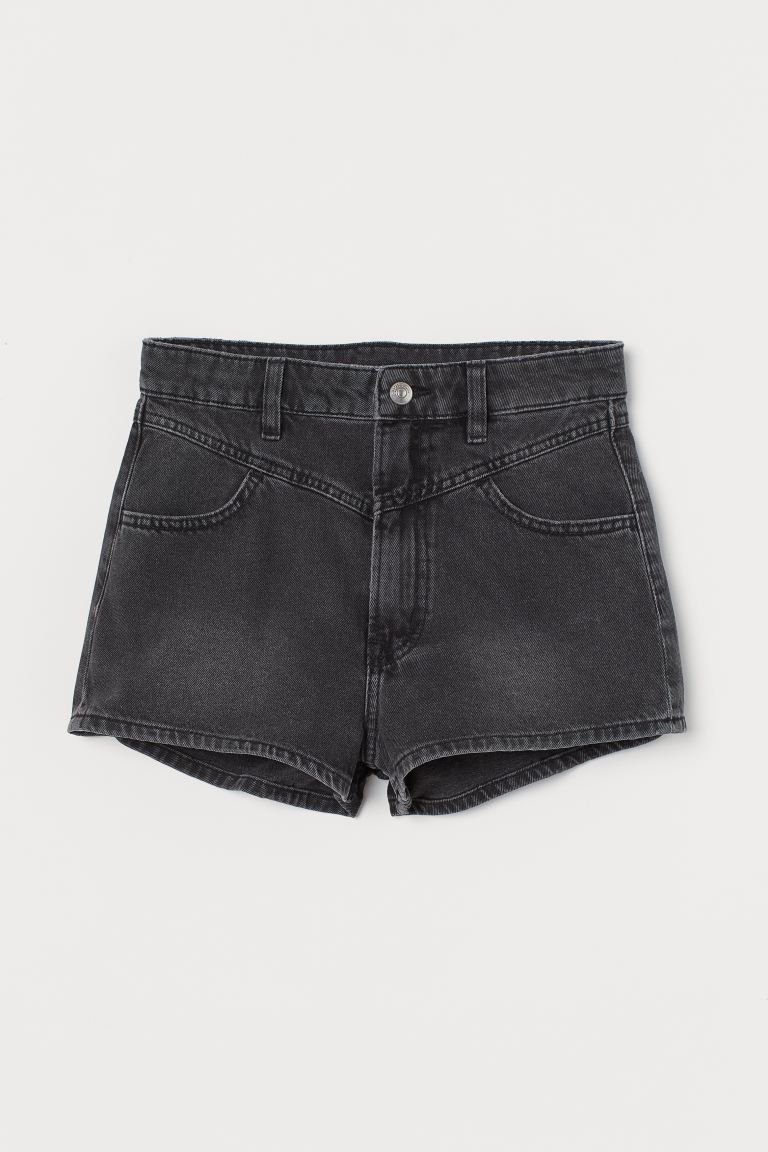 Denim shorts High Waist - Black - Ladies | H&M