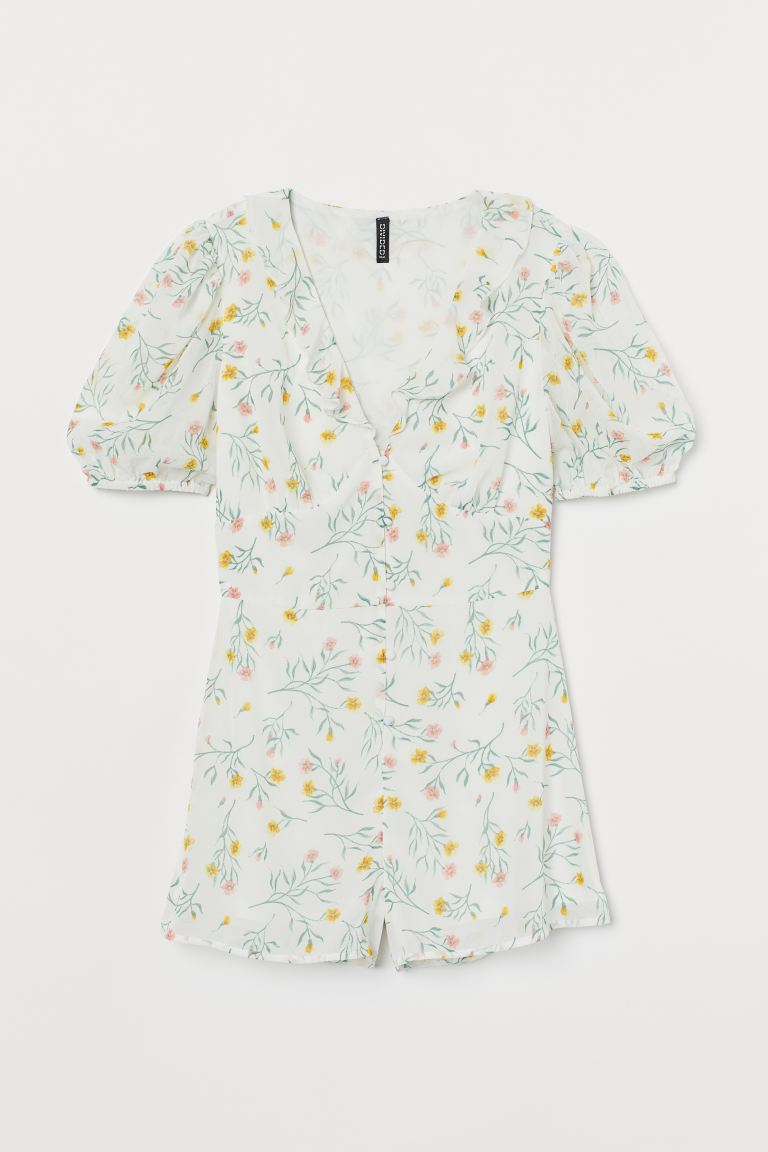 Puff-sleeved playsuit - White/Floral - Ladies | H&M
