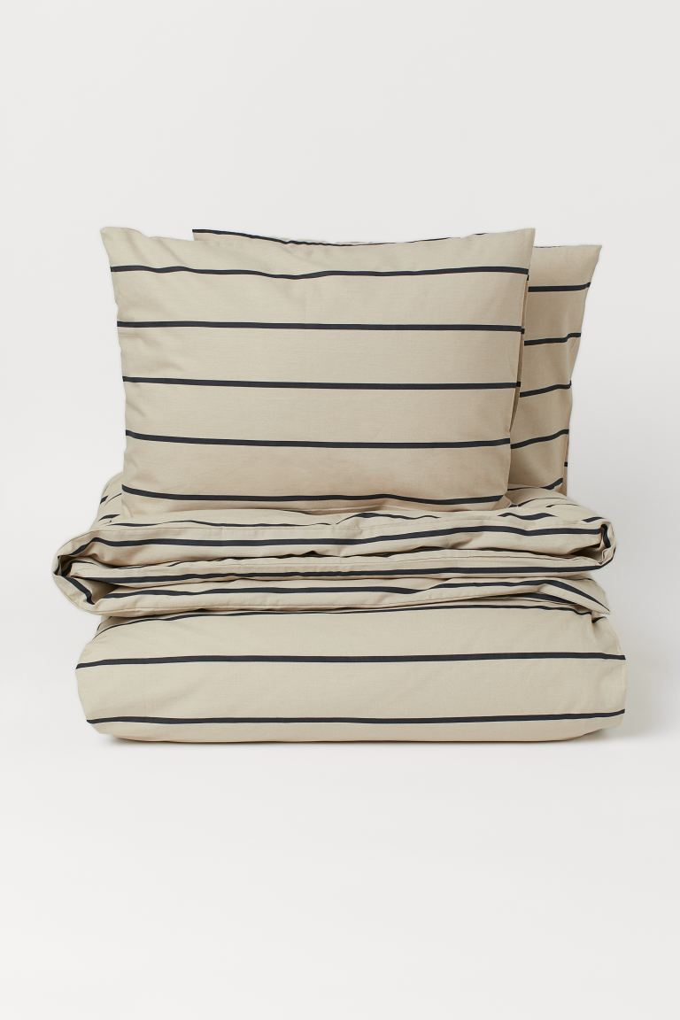 Striped Duvet Cover Set - Beige/striped - Home All | H&M CA
