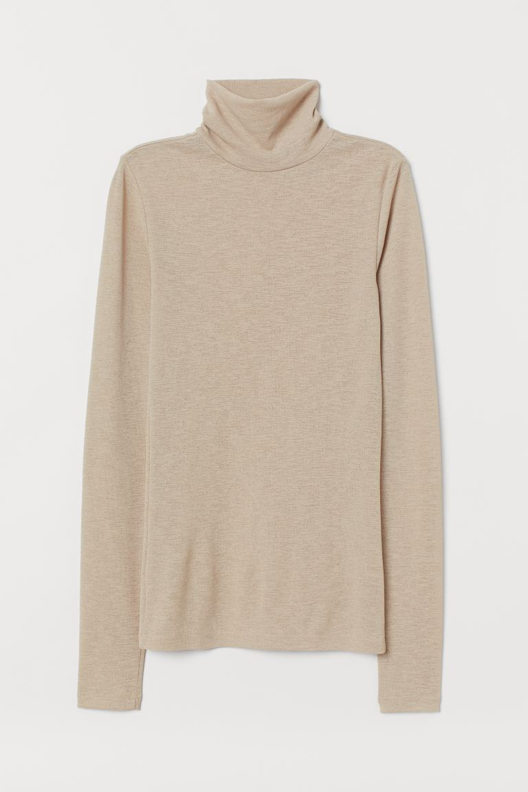 Polo-neck top - Beige - Ladies | H&M GB