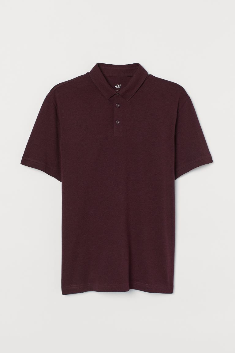 Polo shirt Slim Fit - Burgundy marl - Men | H&M IN