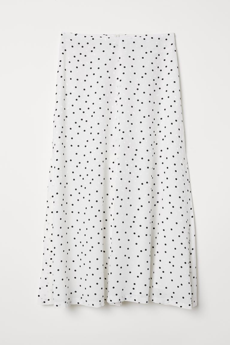 Jacquard-weave skirt - White/Spotted - Ladies | H&M GB