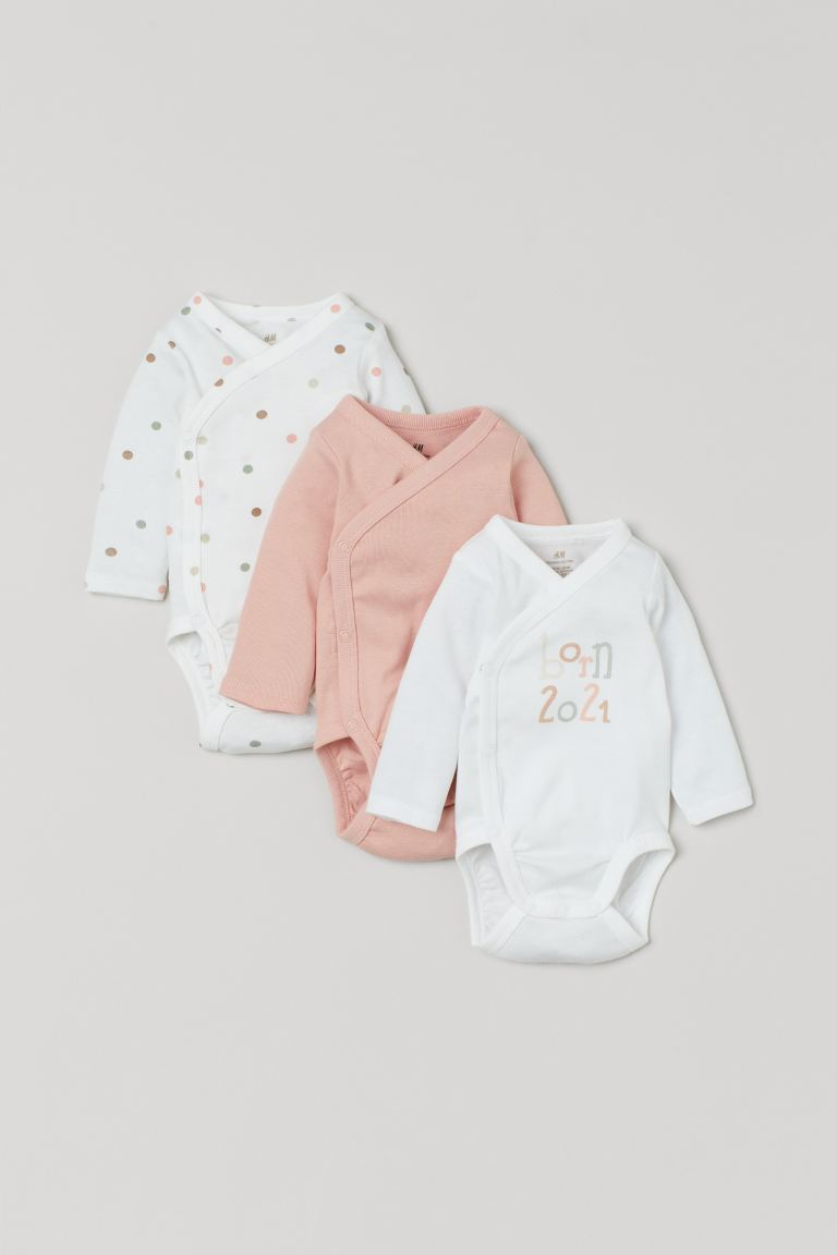 3-pack long-sleeved bodysuits - Powder pink/Born 2021 - Kids | H&M GB