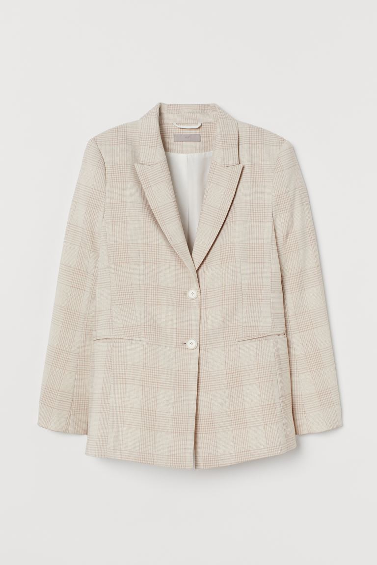 Fitted Jacket - Light beige/Check - Ladies | H&M AU