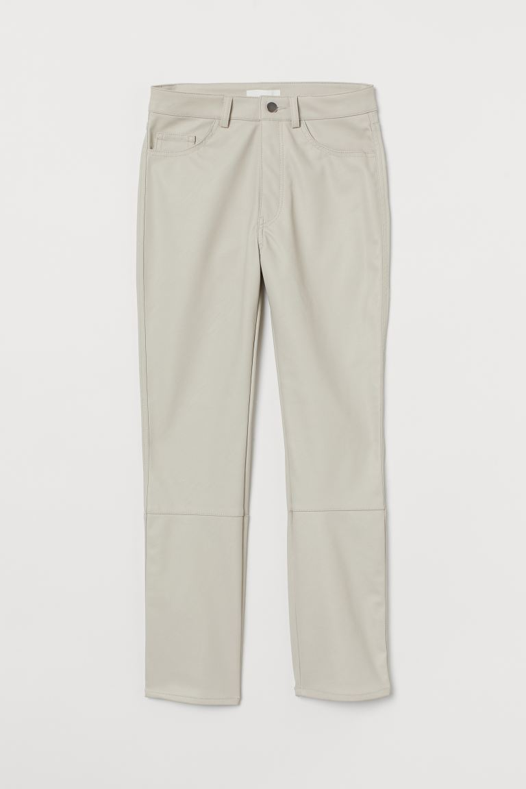 Imitation leather trousers - Light greige - Ladies | H&M