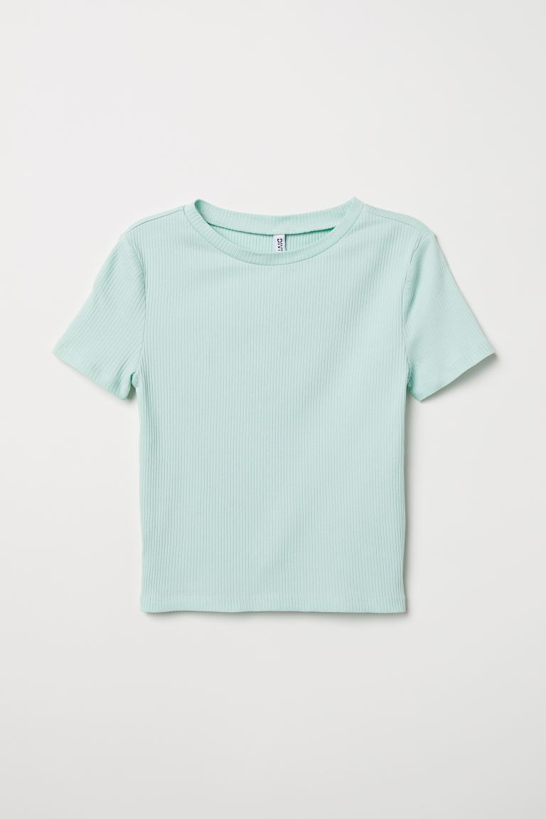 Ribbed top - Light green - Ladies | H&M GB