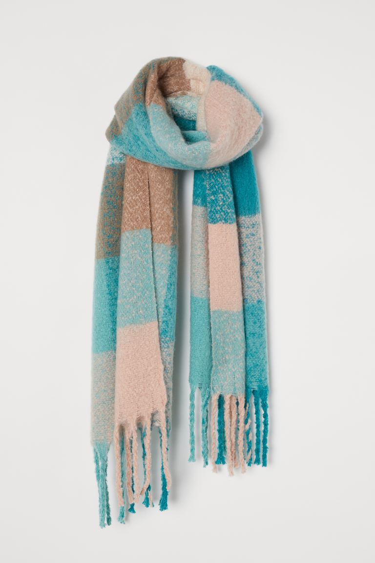 Brushed-finish Scarf - Turquoise/checked - Ladies | H&M US