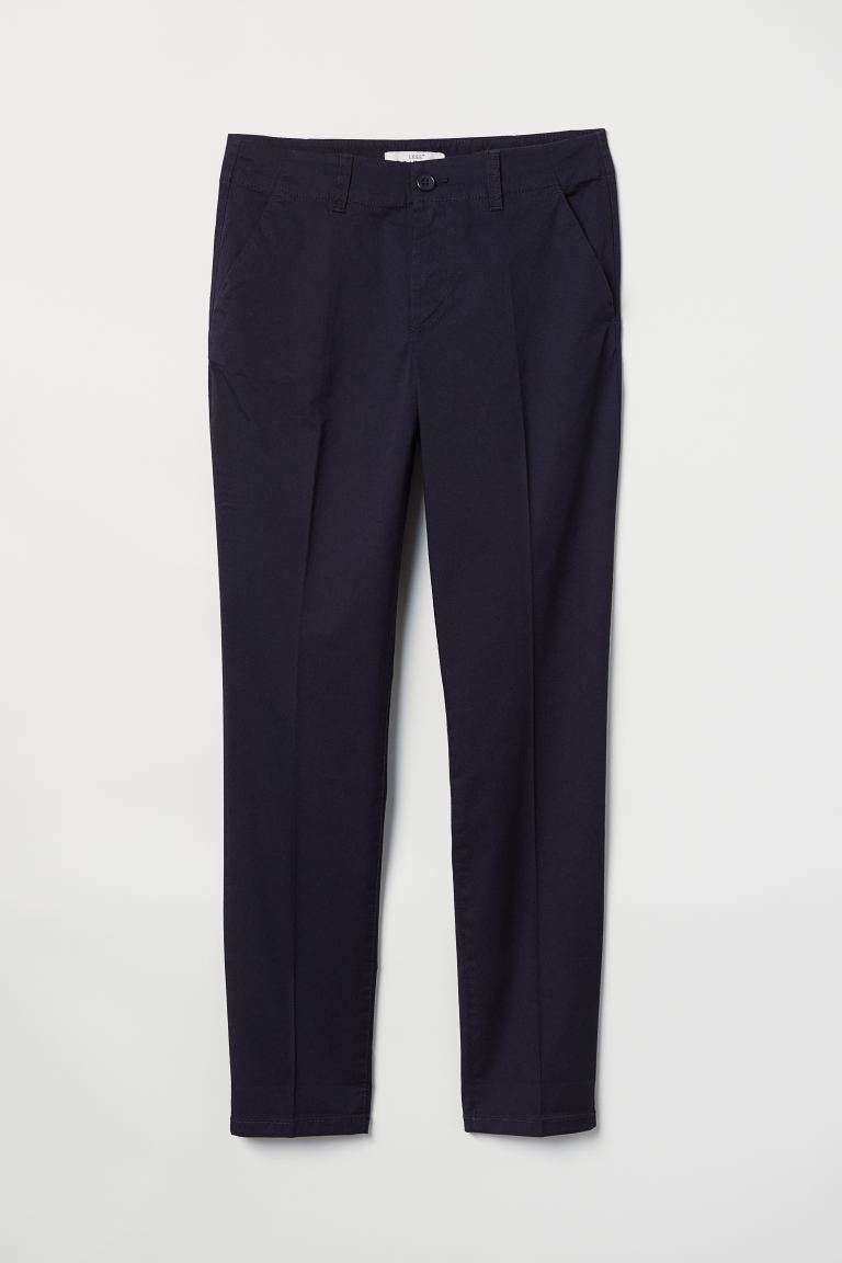 Cotton Chinos - Dark blue - Ladies | H&M US