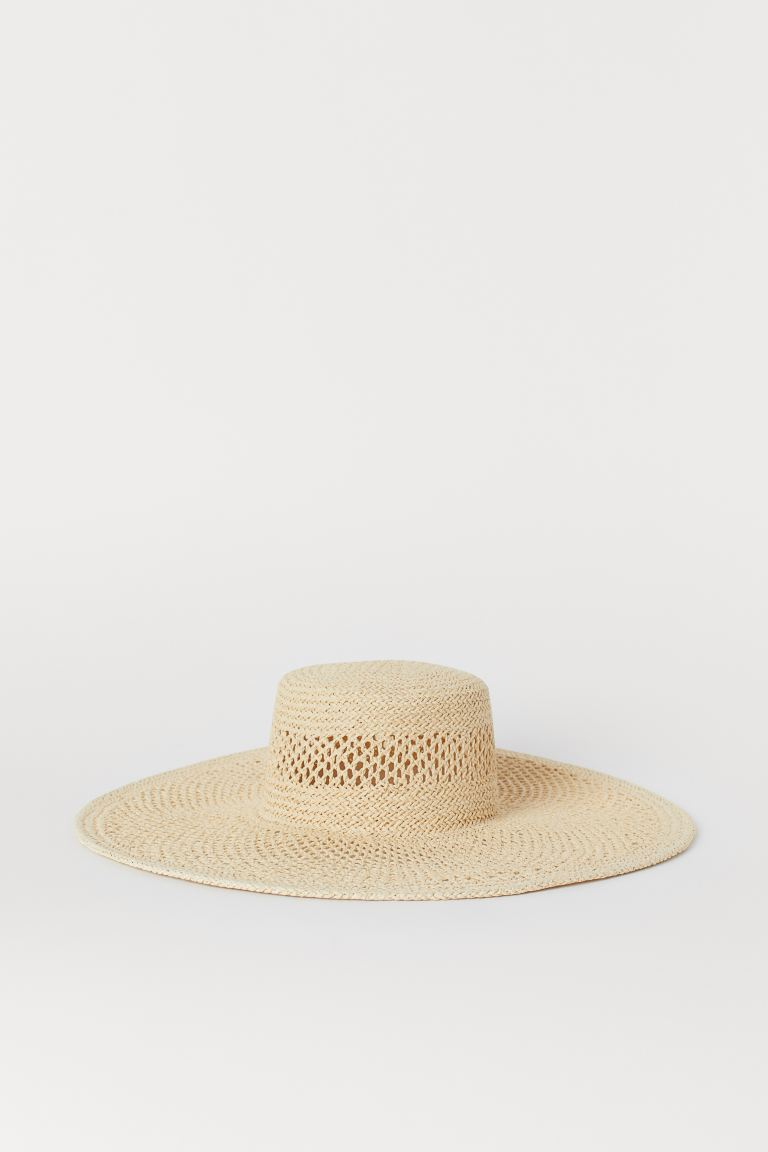Large straw hat - Natural - Ladies | H&M GB