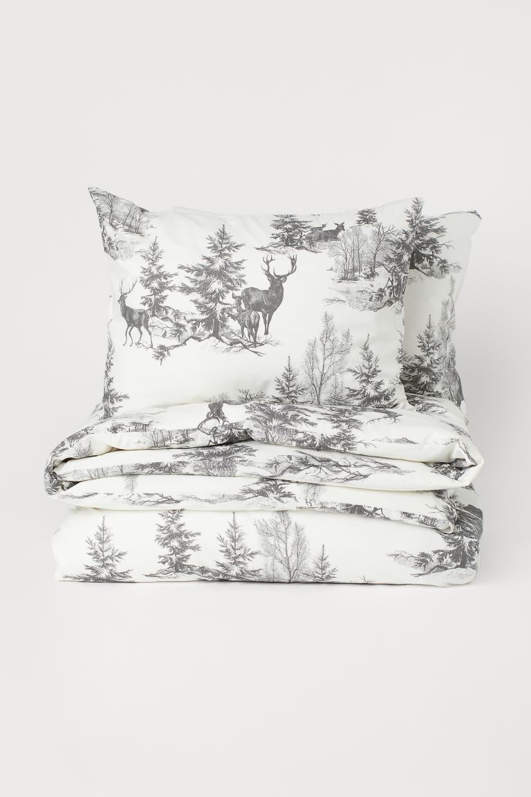 Cotton duvet cover set - Dark grey/Forest animals - Home All | H&M GB
