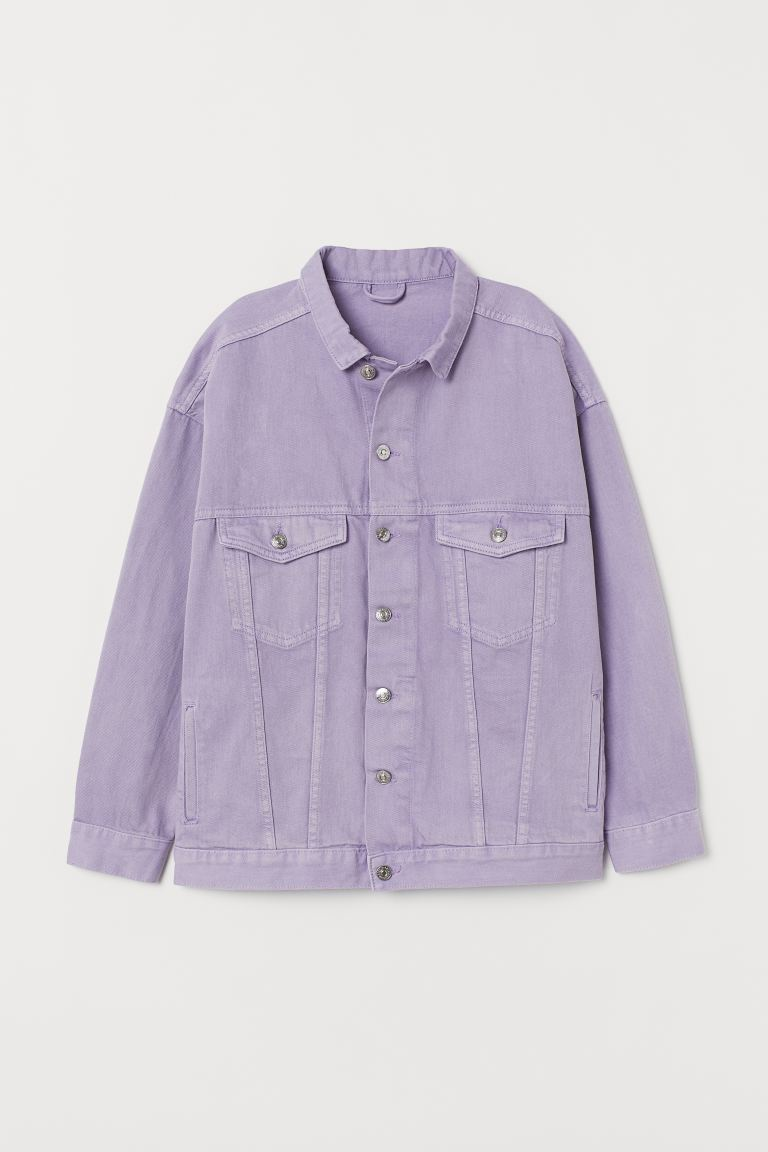 Oversized denim jacket - Lavender - Ladies | H&M GB