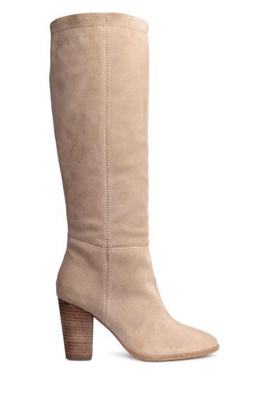 Suede Knee High Boots Light Beige Ladies H M Ie