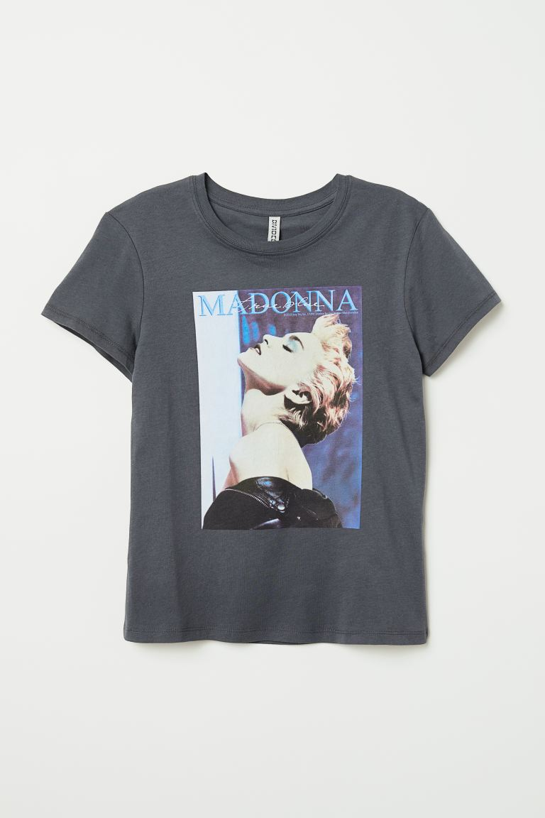 T-shirt with Printed Design - Dark gray/Madonna - Ladies | H&M US