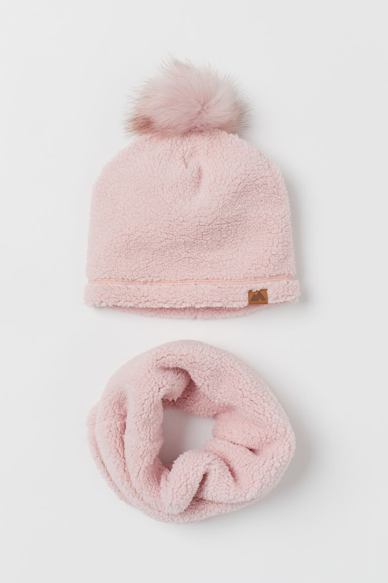 2-piece faux shearling set - Light pink - ENFANT | H&M FR