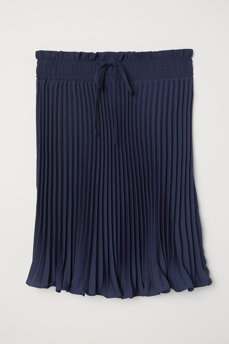 Pleated Skirt - Dark blue - Ladies | H&M US