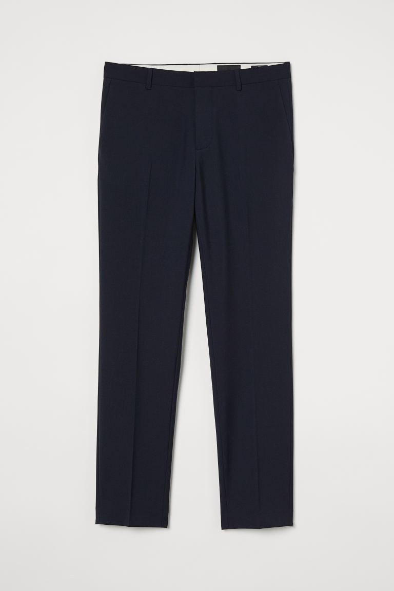 Wool-blend trousers Slim Fit - Navy blue - Men | H&M