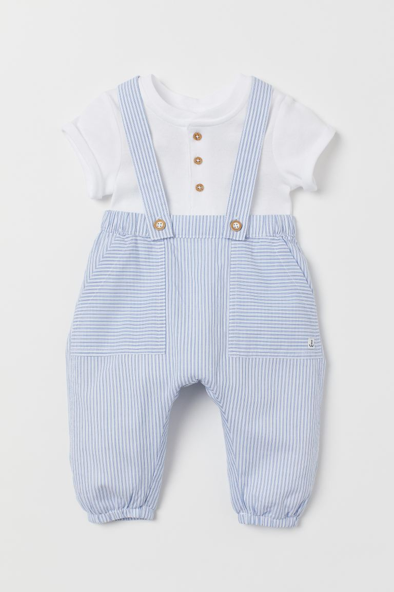 Overalls and Bodysuit - Light blue/striped - Kids | H&M US