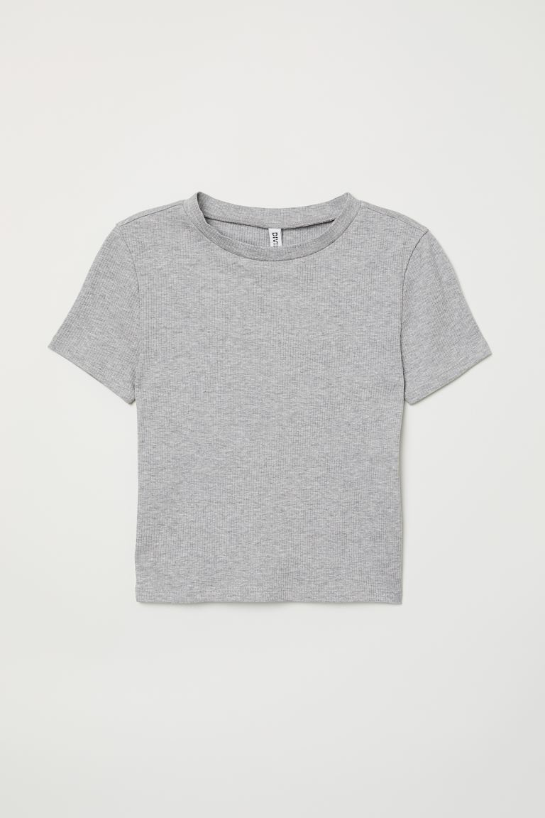 Ribbed top - Light grey marl - Ladies | H&M
