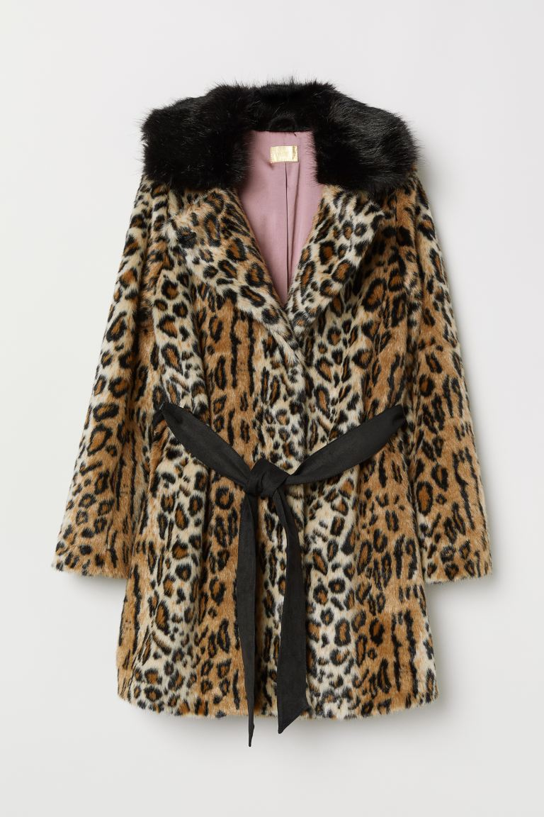 Faux Fur Coat - Beige/leopard print - Ladies | H&M US