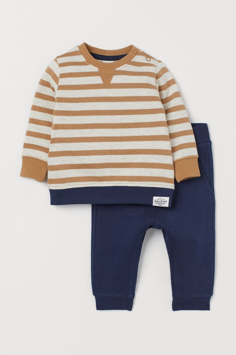 Sweatshirt and Joggers - Natural white/beige striped - Kids | H&M US