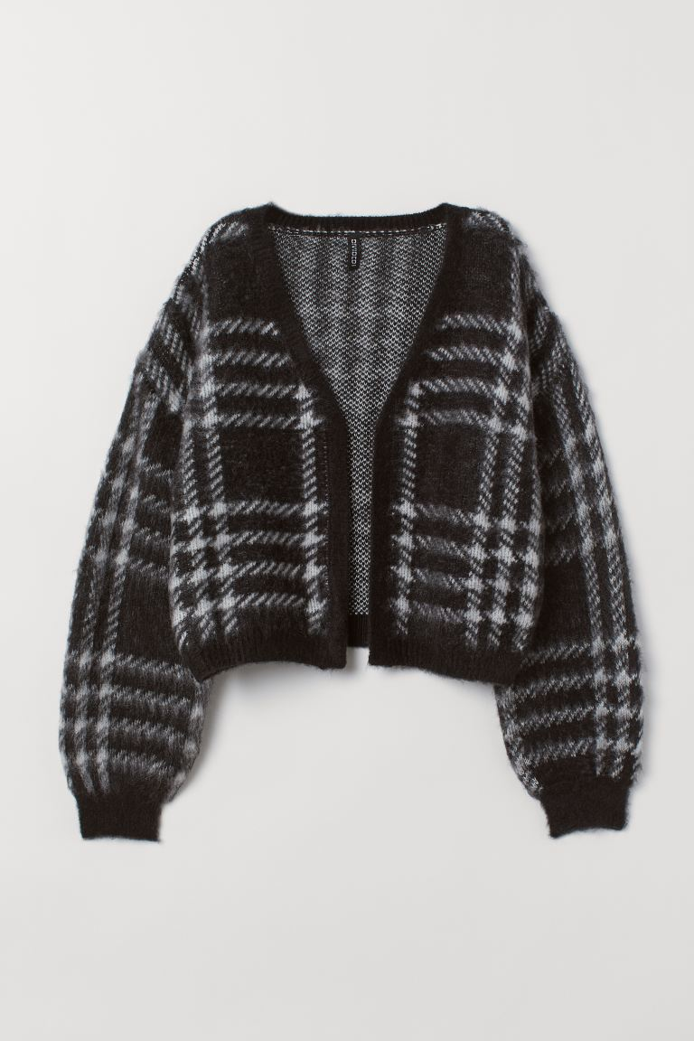 Fluffy cardigan - Black/Checked - Ladies | H&M IE