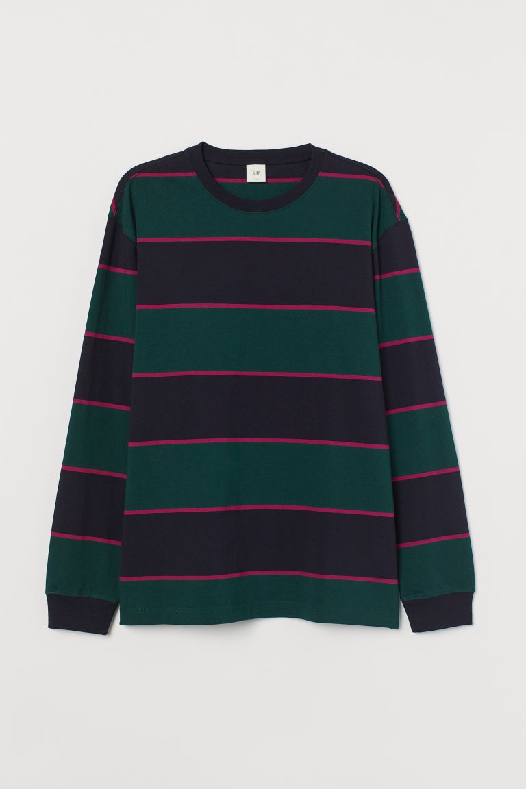 Long-sleeved jersey top - Dark green/Striped - Men | H&M GB