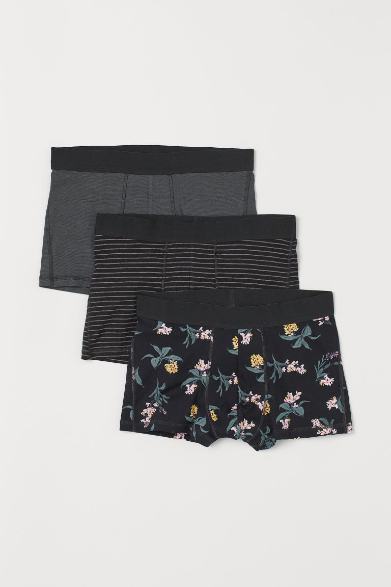 3-pack short trunks - Black/Orchids - Men | H&M