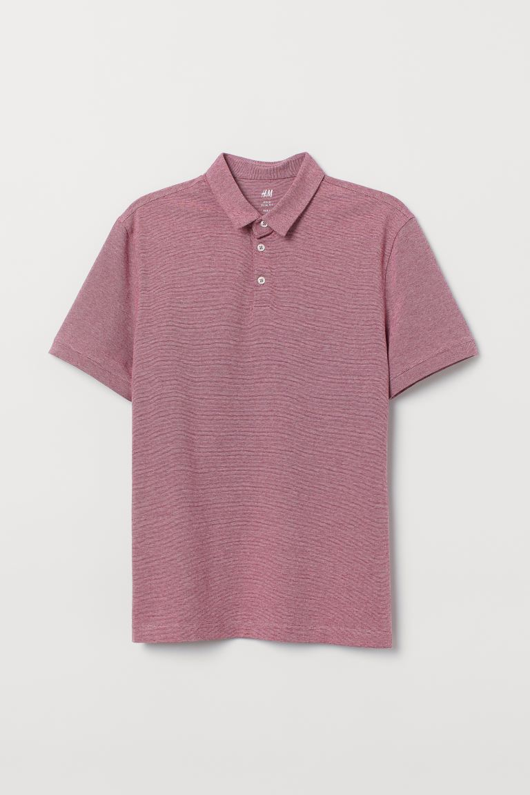 Polo shirt Slim Fit - Dark pink/Narrow-striped - Men | H&M IN