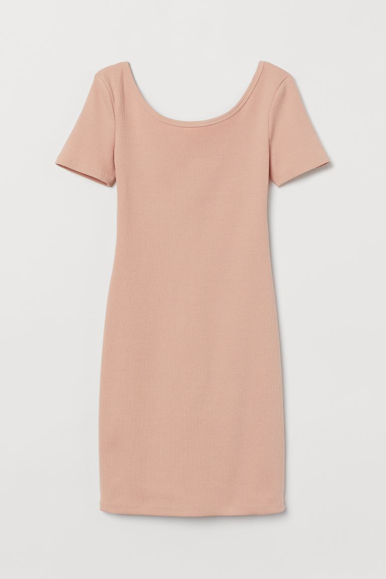 Ribbed bodycon dress - Powder pink - Ladies | H&M