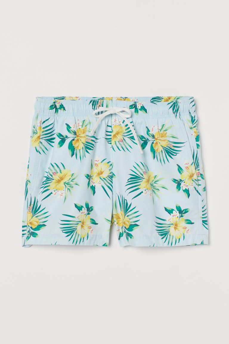 Short Swim Shorts - Light blue/Hibiscus - Men | H&M US