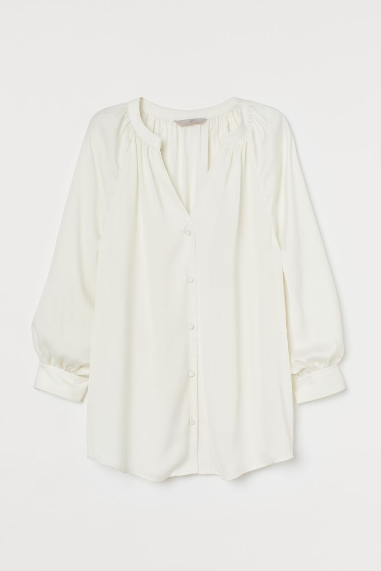 V-neck Satin Blouse - White - Ladies | H&M US