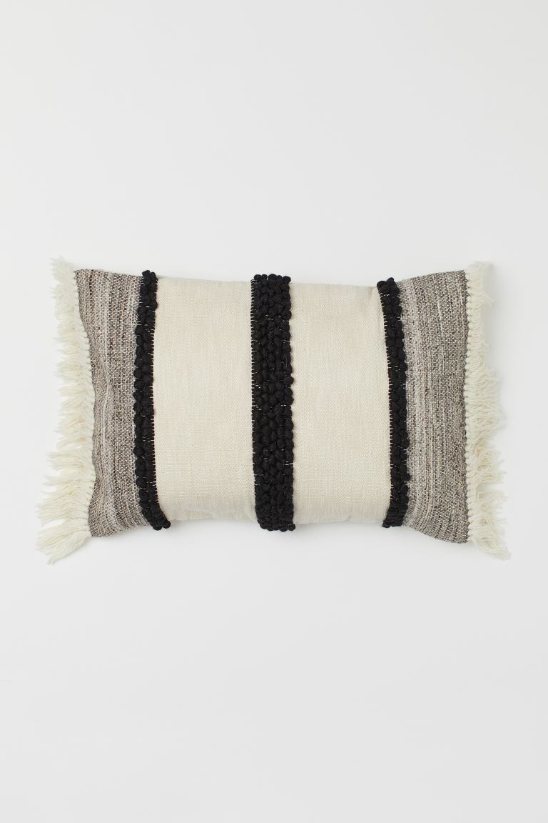 Fringed cushion cover - Light beige/Black - Home All | H&M IE