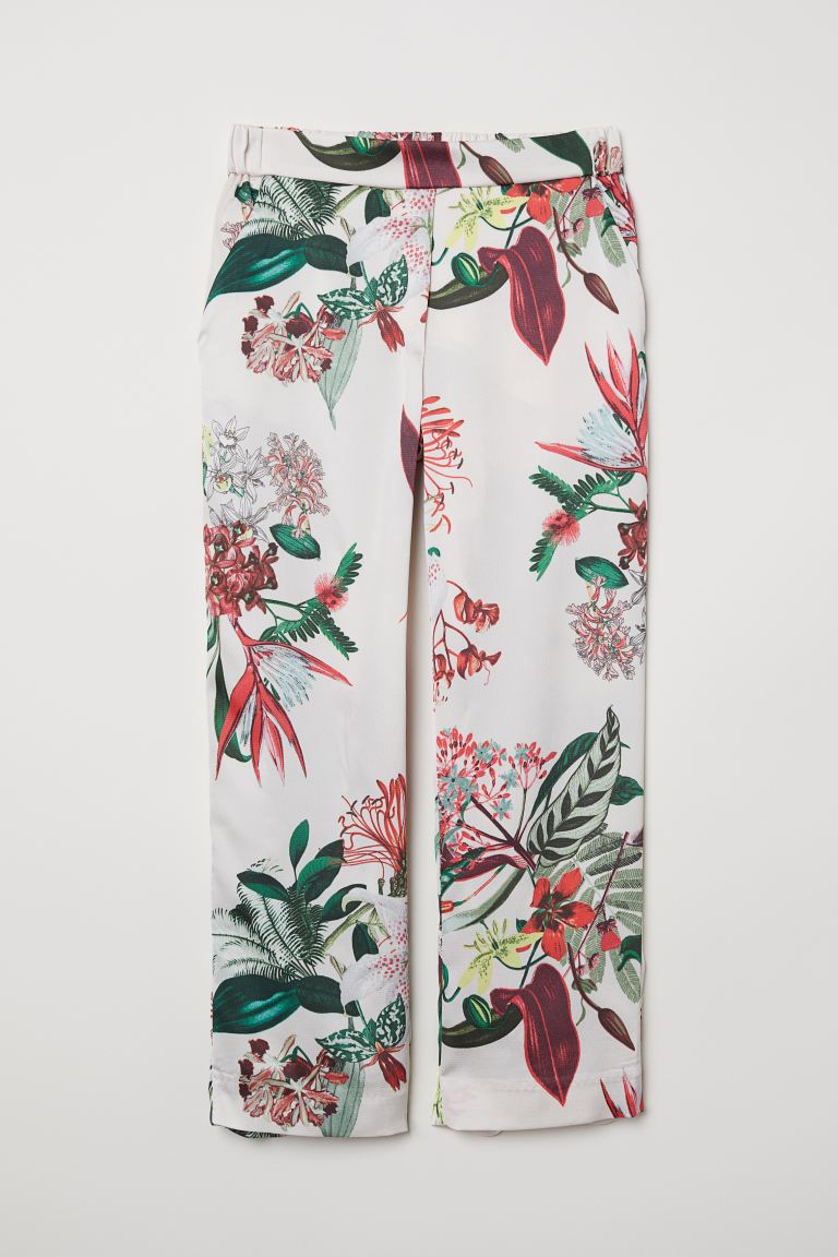 Ankle-length Pants - White/floral - Ladies | H&M US