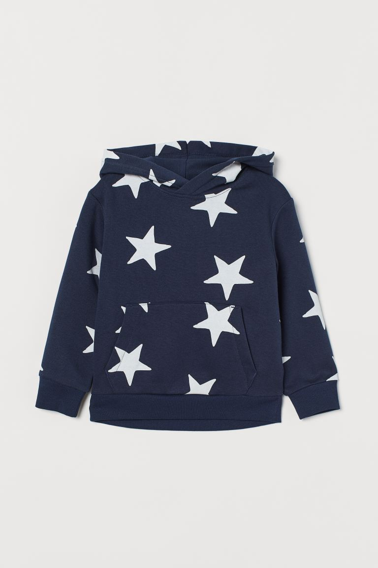 Hooded top - Dark blue/Stars - Kids | H&M