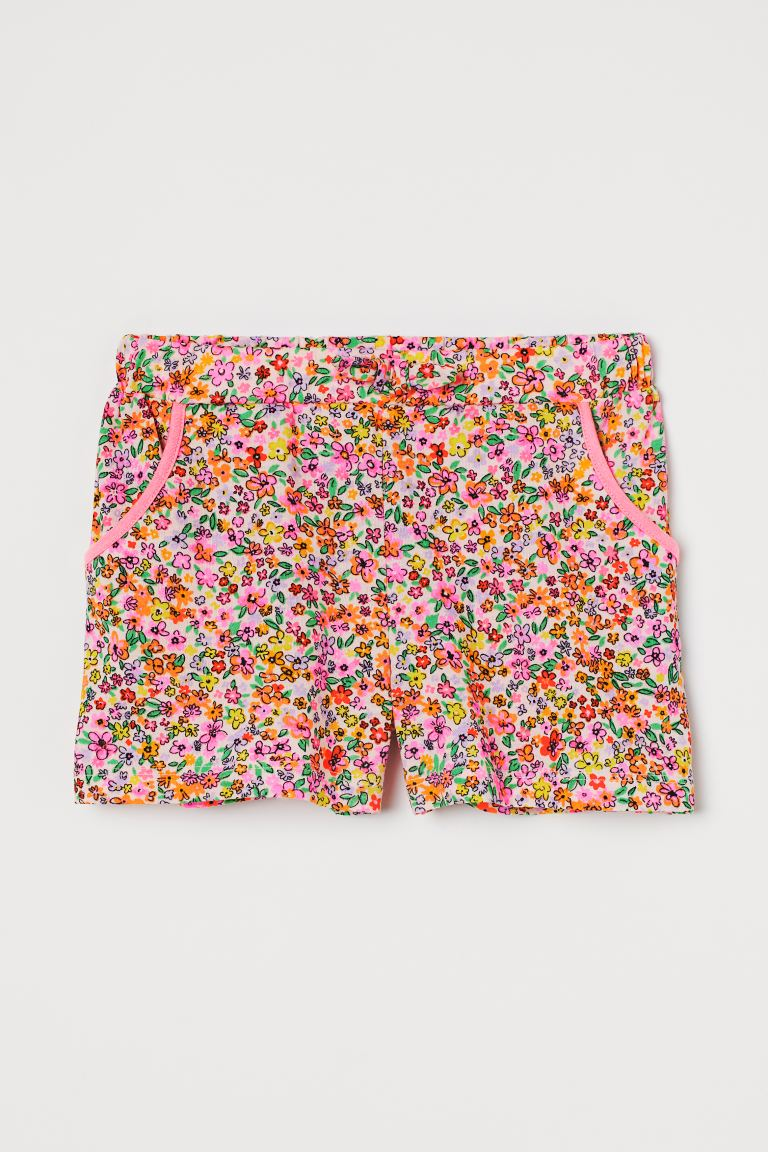 Cotton jersey shorts - Light pink/Small flowers - Kids | H&M GB