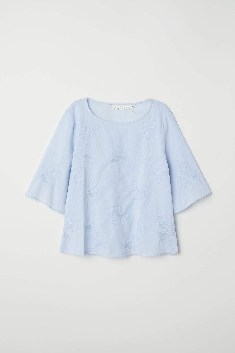 Embroidered top - Light blue - Ladies | H&M GB