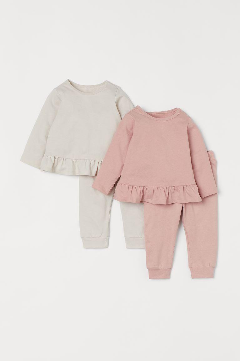 Lot de 2 pyjamas en coton - Rose clair/beige clair - ENFANT   H&M FR