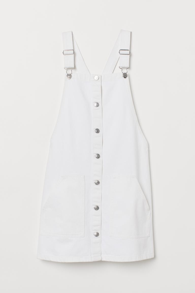 Denim dungaree dress - White - Ladies | H&M