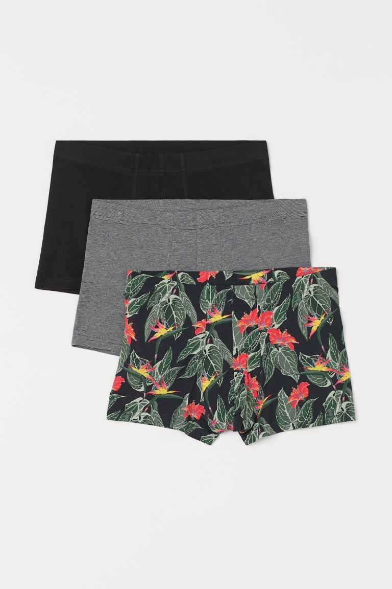 3-pack short trunks - Svart/Bladmönstrad - HERR | H&M SE