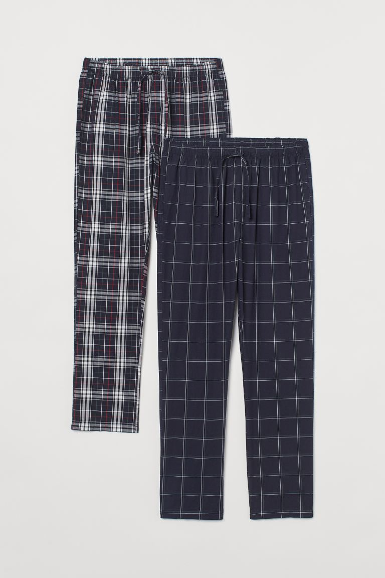 2er-Pack Baumwoll-Pyjamahosen - Dunkelblau/Kariert - Men | H&M AT
