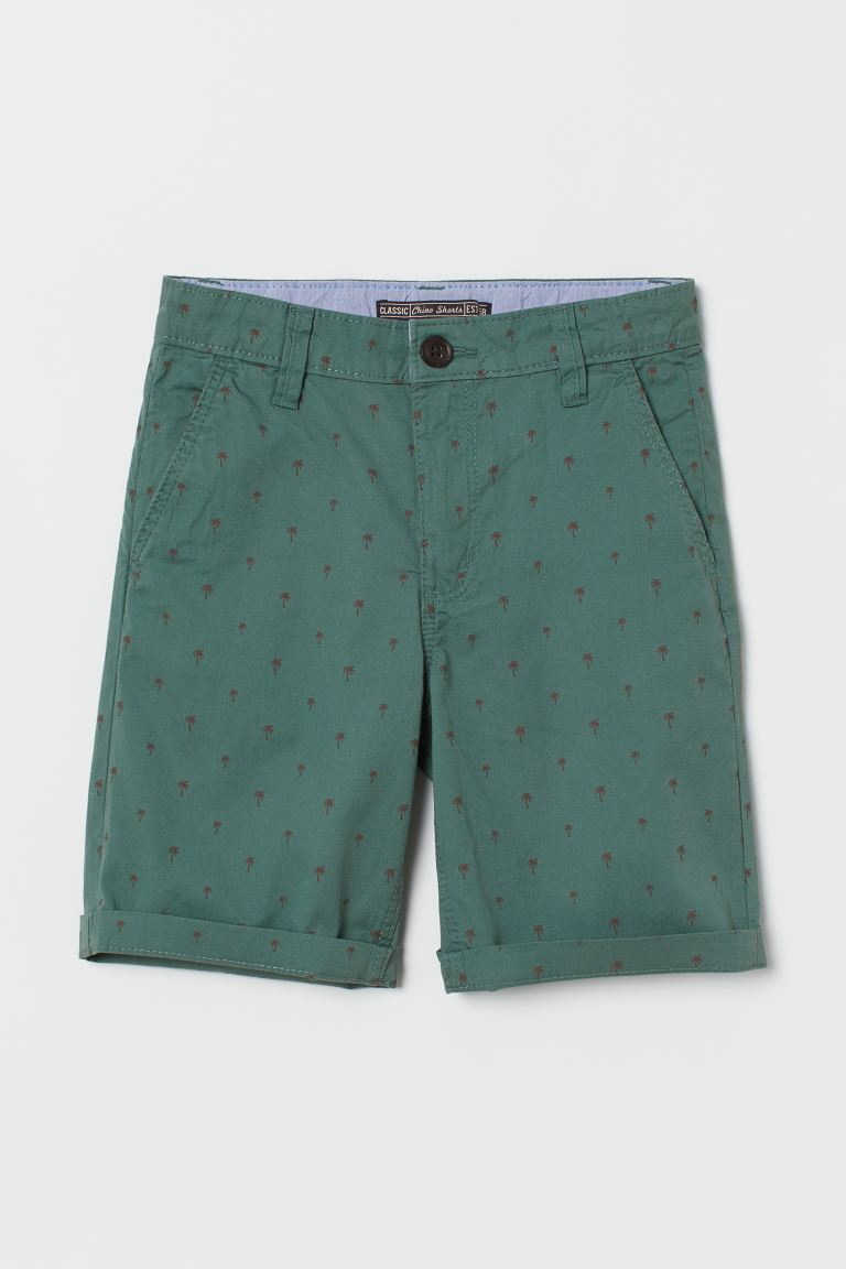 Cotton chino shorts - Dark turquoise/Palm trees - Kids | H&M