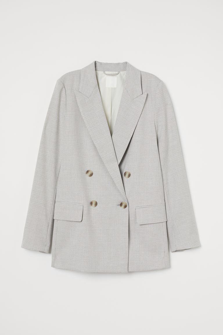 Straight-cut jacket - White/Checked - Ladies   H&M GB