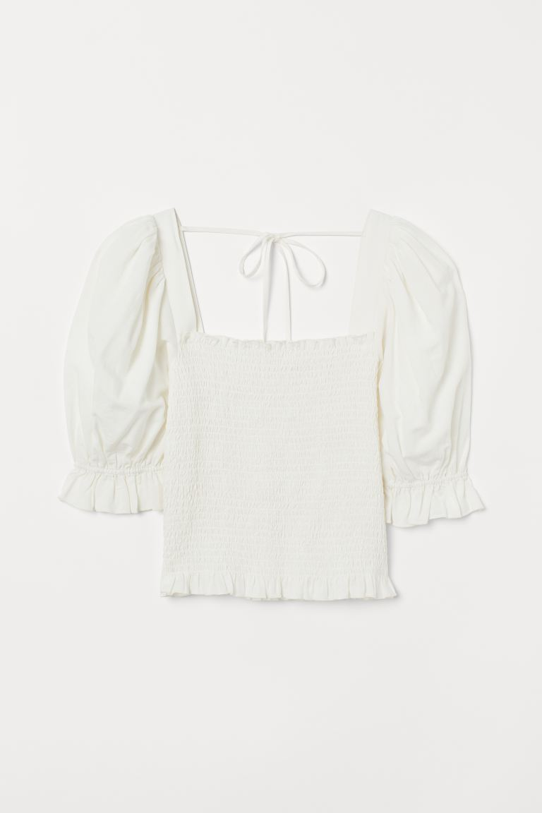 Puff-sleeved Smocked Blouse - White - Ladies | H&M US