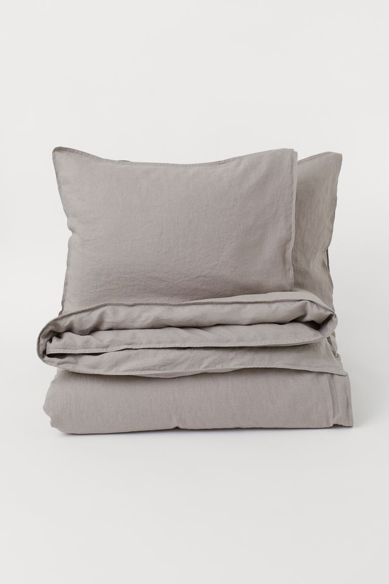Washed Linen Duvet Cover Set - Taupe - Home All | H&M CA