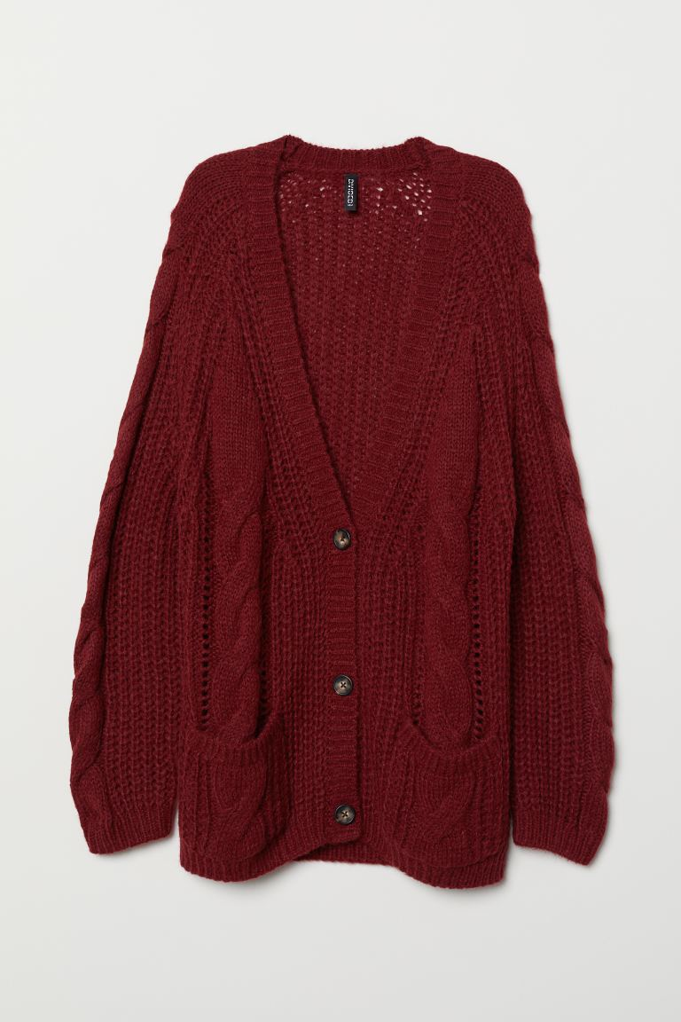 Cable-knit cardigan - Burgundy - Ladies | H&M GB