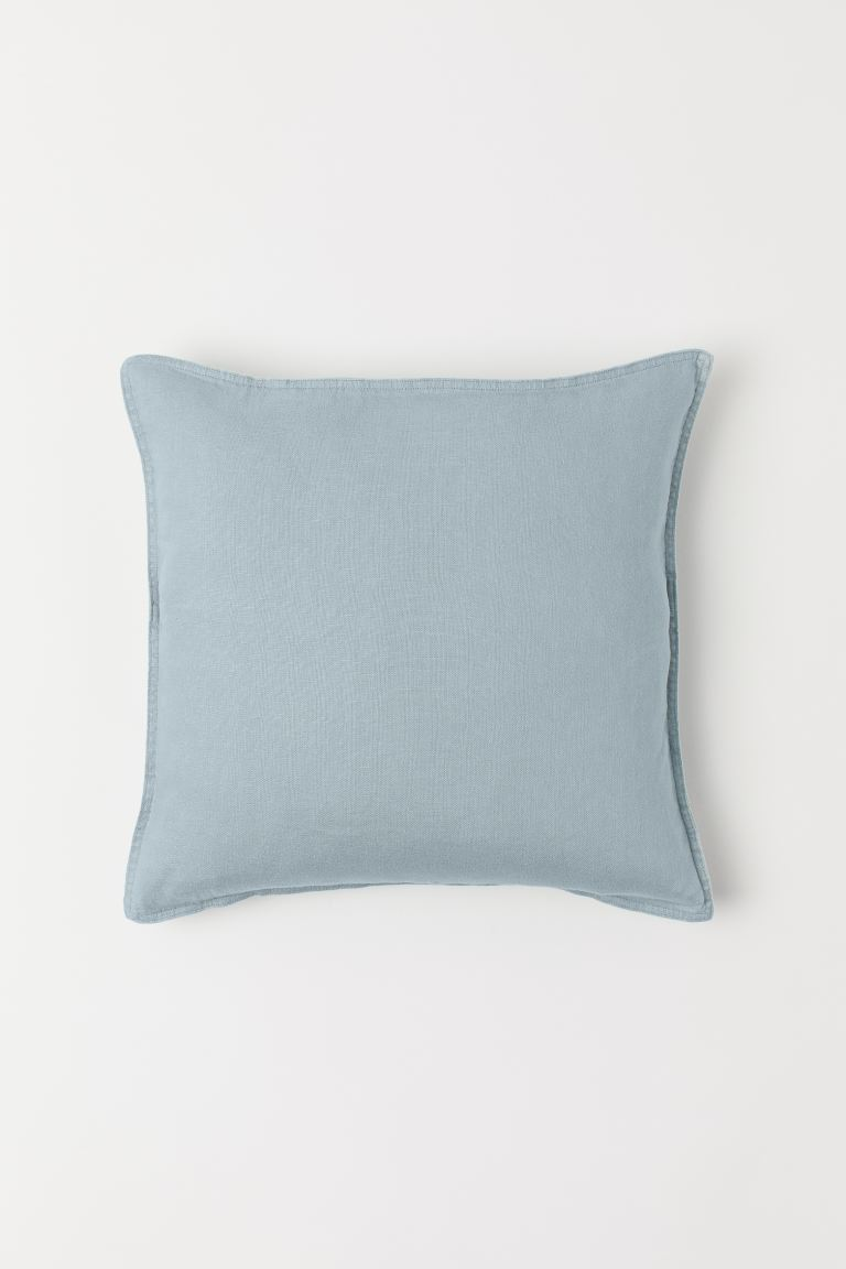 Washed Linen Cushion Cover - Light turquoise - Home All | H&M US