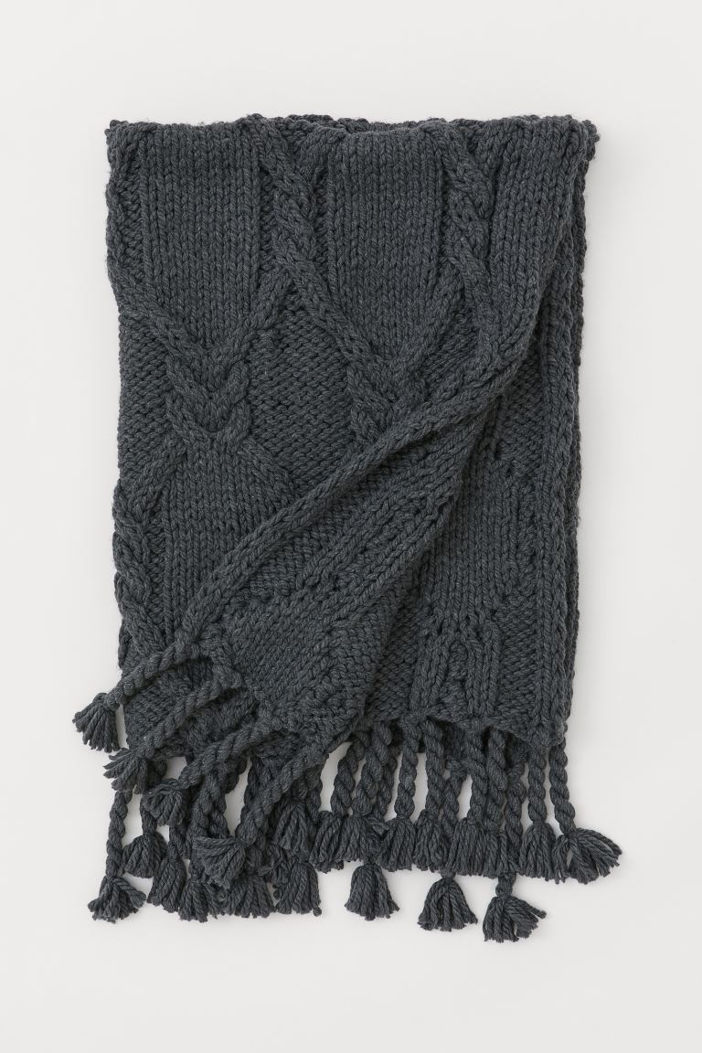 Textured-knit blanket - Dark grey - Home All | H&M GB
