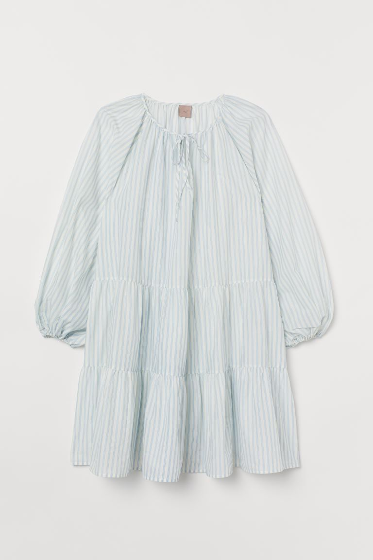 H&M+ Puff-sleeved Dress - Light blue/white striped - Ladies | H&M US