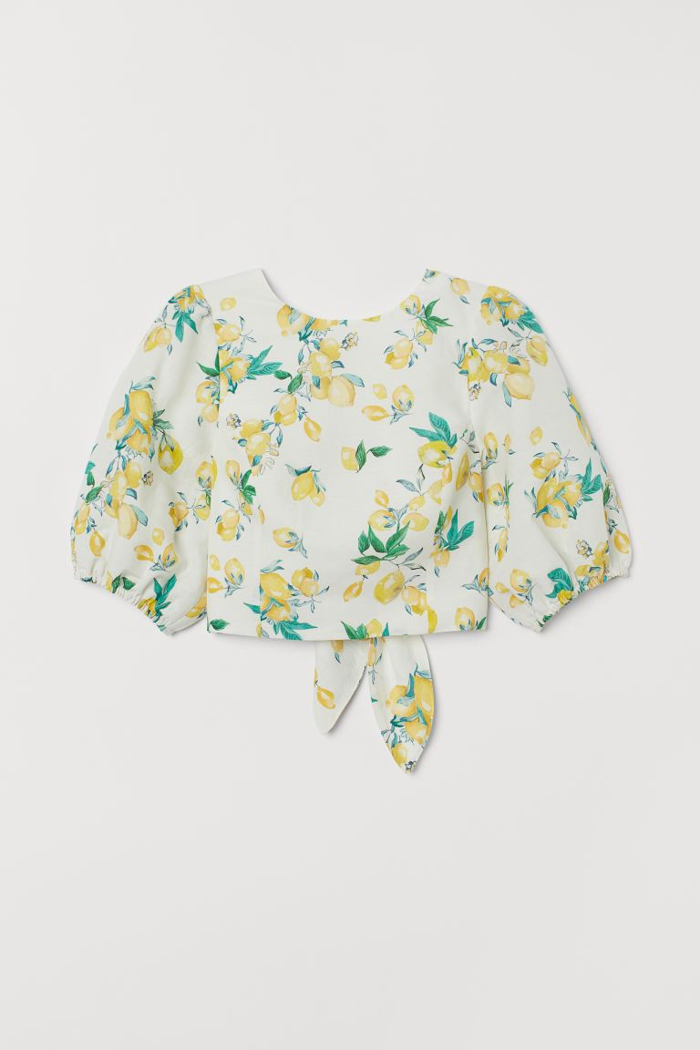Linen-blend Blouse - White/lemons - Ladies | H&M US